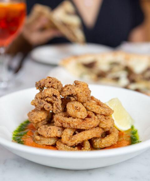 Buttermilk Fried Calamari in a white bowl